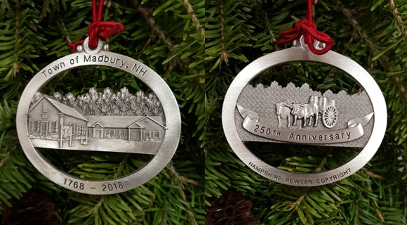 250th Commemorative Pewter Ornament for sale starting 12/18/2017.  $20 cash or check (to Town)
