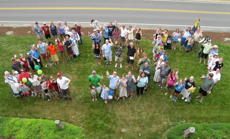 "Residents and friends form ""250"" on Madbury Day, 2018."