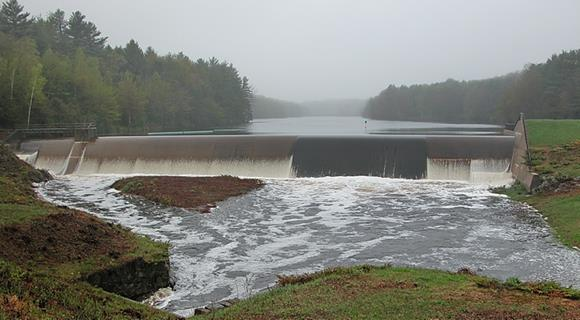 Bellamy Reservoir dam at full overflow.