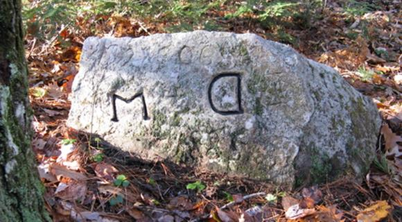Barrington-Dover-Madbury boundary stone.